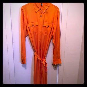 Ralph Lauren orange button down shirt dress